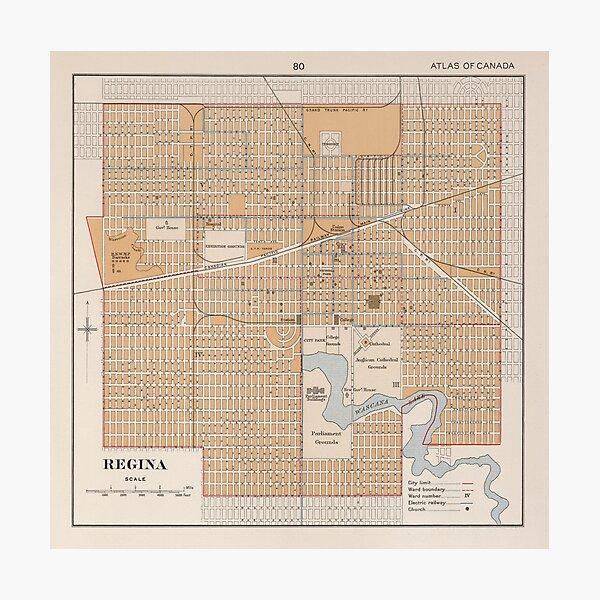 Vintage Map of Regina Saskatchewan (1915) Photographic Print