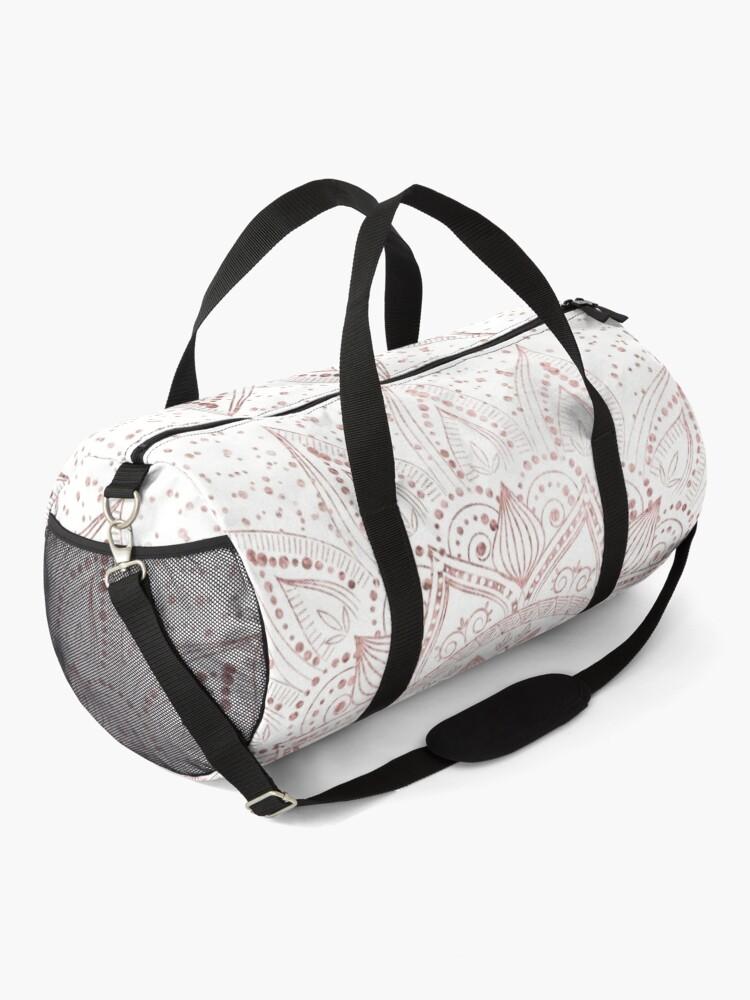 Alternate view of Elegant rose gold mandala confetti design Duffle Bag