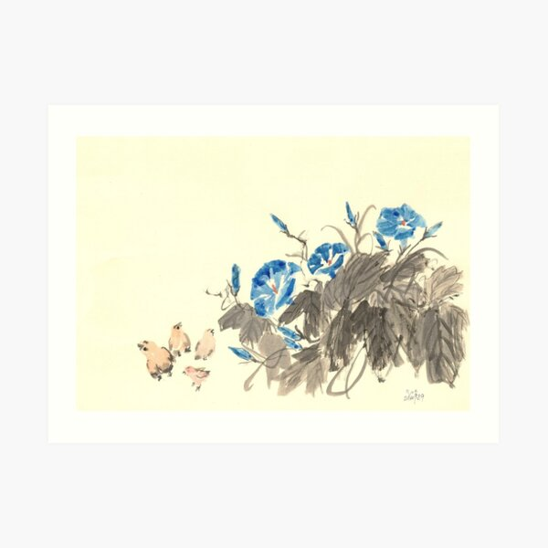 Morning Glory and Chickens Art Print
