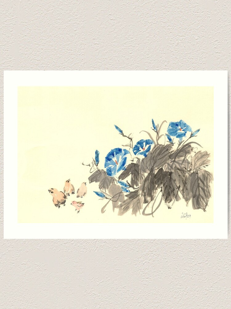 Alternate view of Morning Glory and Chickens Art Print