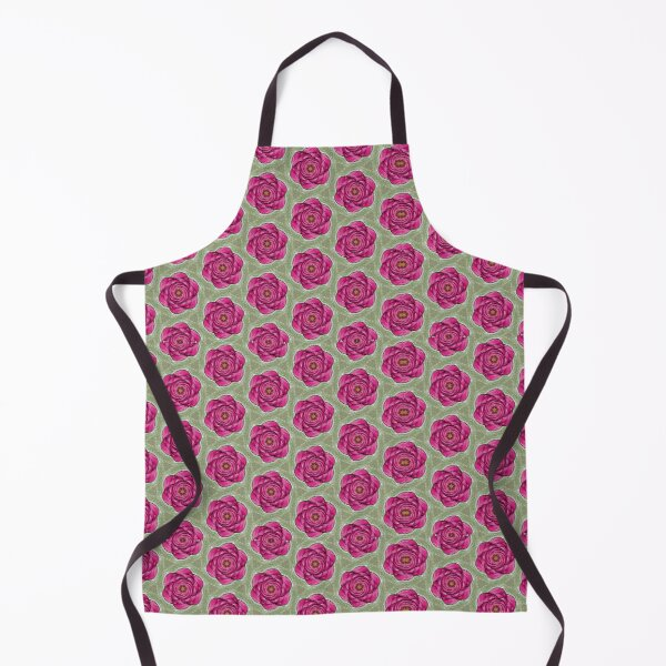Green and Rose Abstract Flower Apron