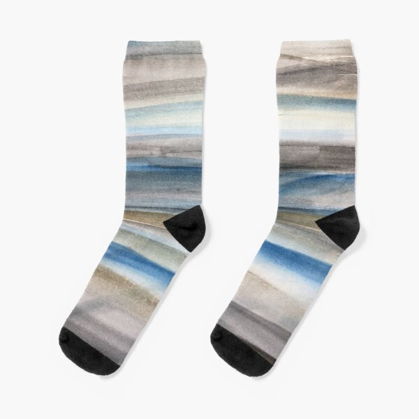 Brown and Blue Abstract Socks