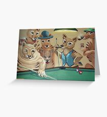 Thylacines Playing Pool (after Arthur Sarnoff) Greeting Card