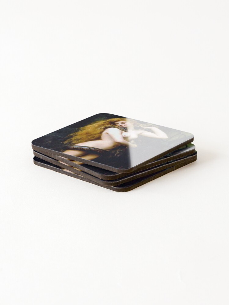 Alternate view of Lilith with the snake - John Collier 1886 Coasters (Set of 4)