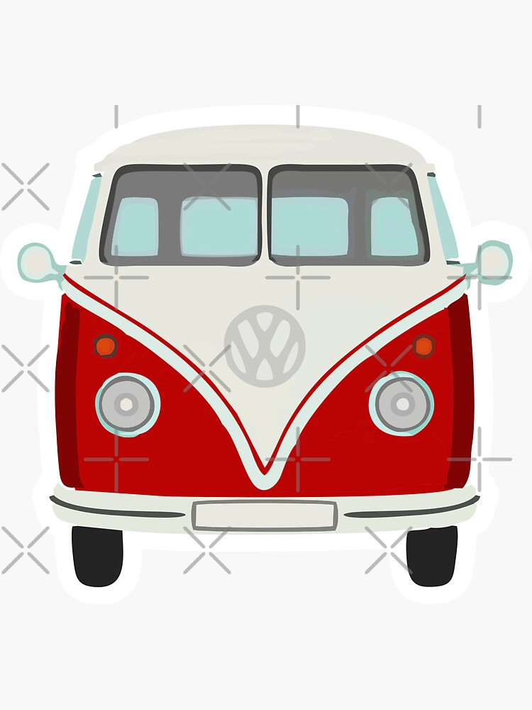 Red Camper-Van Sticker by stickysterscom