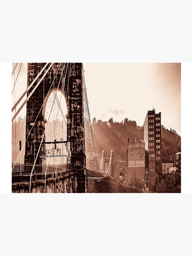 Wheeling Suspension Bridge West Virginia Vintage Photograph by rbaaronmattie