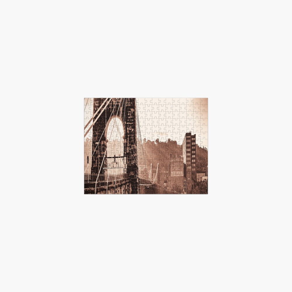 Wheeling Suspension Bridge West Virginia Vintage Photograph Jigsaw Puzzle