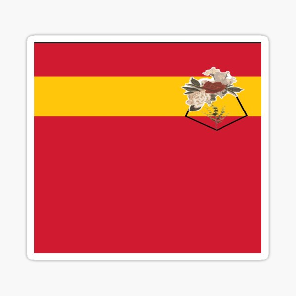 Yellow striped with pocket print of flower Sticker
