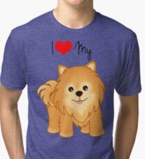 Cute Little Pomeranian Puppy Dog Tri-blend T-Shirt