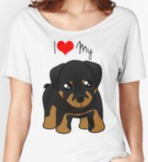 Cute Little Rottweiler Puppy Dog Women's Relaxed Fit T-Shirt