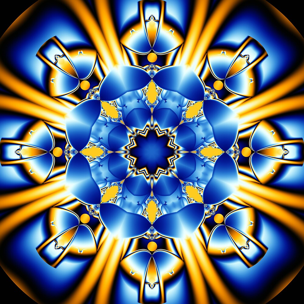 Sun dance of the Blue Butterflies, fractal kaleidoscope art by walstraasart