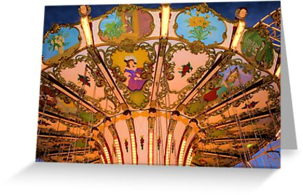 Ornate Swing Ride at Night on the Ocean City, NJ Boardwalk by Kim McClain Gregal
