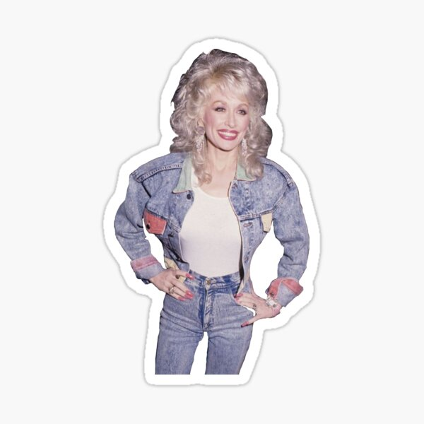 Dolly Parton Denim Outfit Transparent Sticker