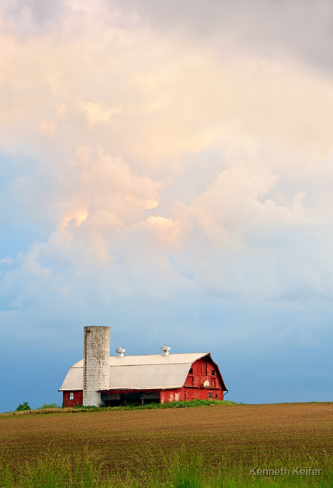 Barn and Evening Sky by Kenneth Keifer