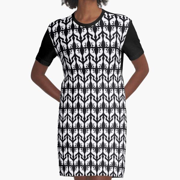 Greyhound Pattern: Black & White Graphic T-Shirt Dress