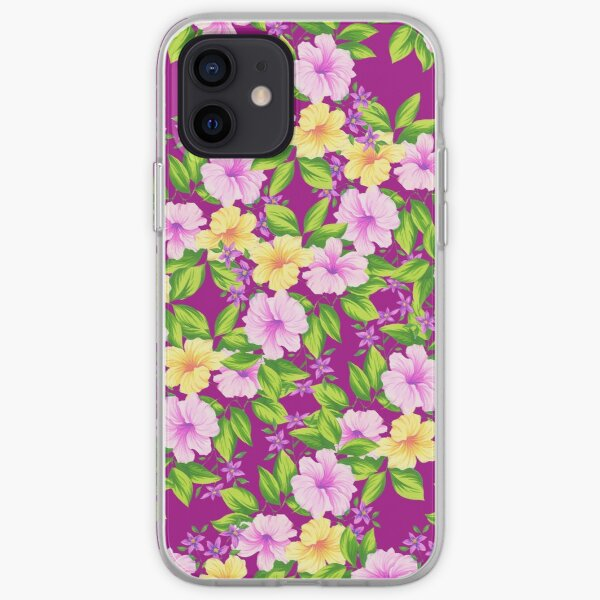 Hibiscus Floral Design in Pinks & Yellows iPhone Soft Case