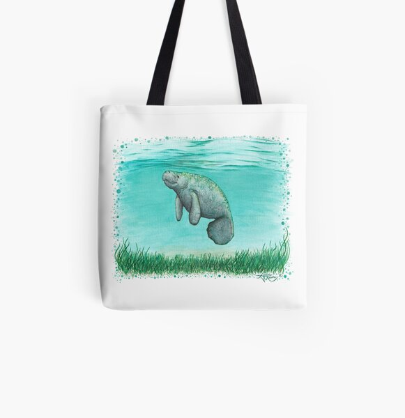 """""""Mossy Manatee"""" by Amber Marine ~ Watercolor and ink painting, art © 2016 All Over Print Tote Bag"""
