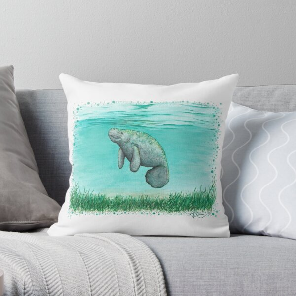 """""""Mossy Manatee"""" by Amber Marine ~ Watercolor and ink painting, art © 2016 Throw Pillow"""