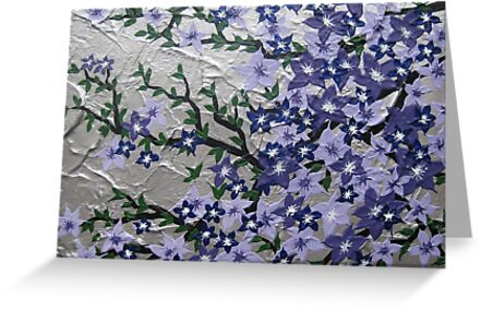 Purple and silver flowers with green leaves by cathyjacobs