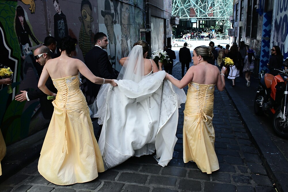 Bridal Party Hosier Lane by Andrew  Makowiecki