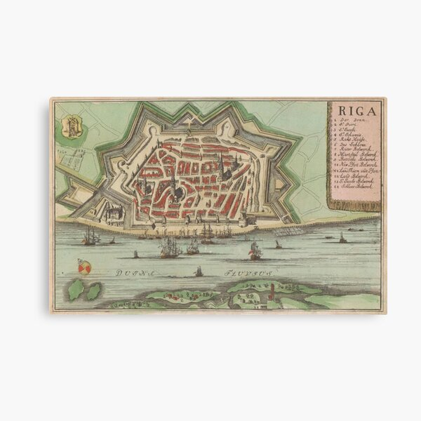 Vintage Map of Riga Latvia (1735) Canvas Print