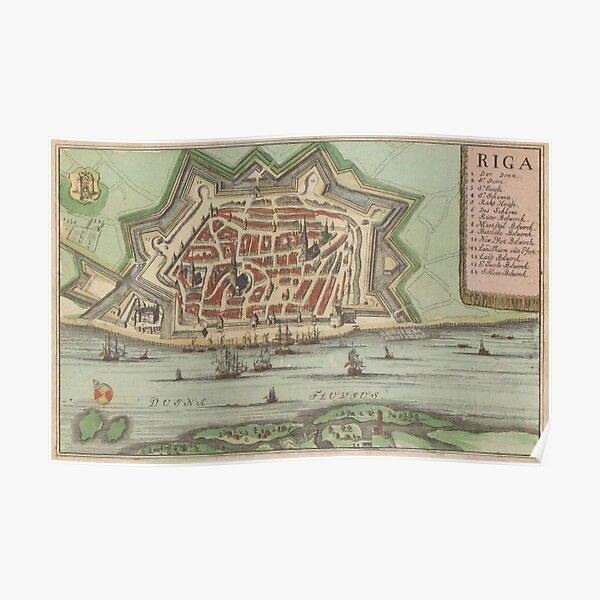 Vintage Map of Riga Latvia (1735) Poster