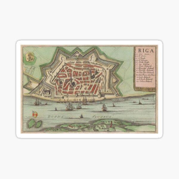 Vintage Map of Riga Latvia (1735) Sticker