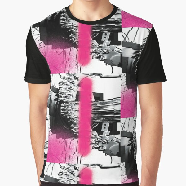 Screen, Abstract Futuristic Object with Punk Spikes and Graffiti Spray Paint Graphic T-Shirt