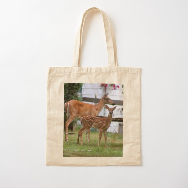 Deer: Doe and Fawn Cotton Tote Bag