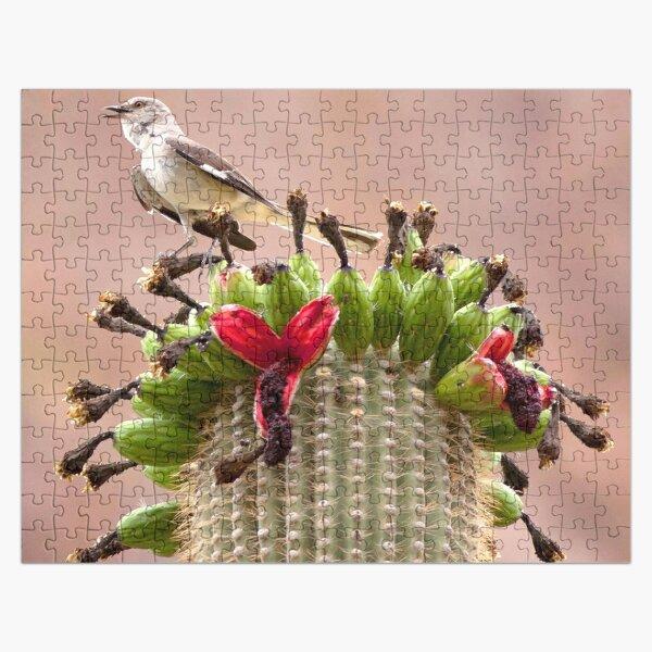 Watercolor Bird, Mockingbird 01, on Fruiting Saguaro Cactus, Ventana Canyon, Arizona Jigsaw Puzzle