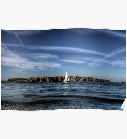 Sailing past Alderney Poster