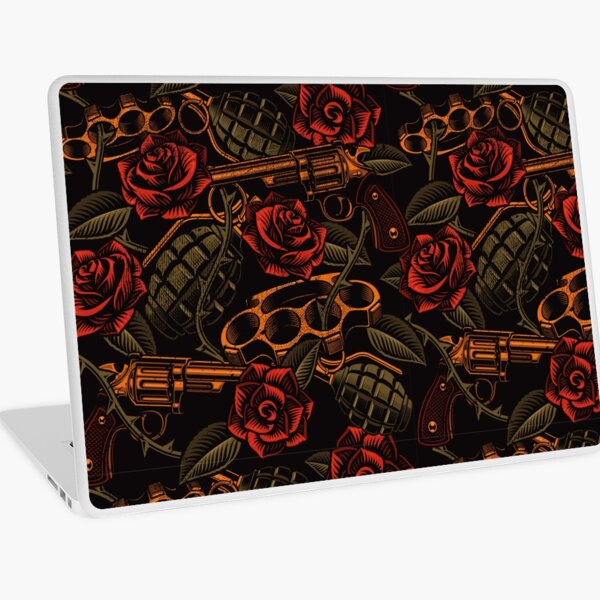 Skull and Roses Old School Tattoo | Interesting, Unique Design | Strength and Protection Laptop Skin