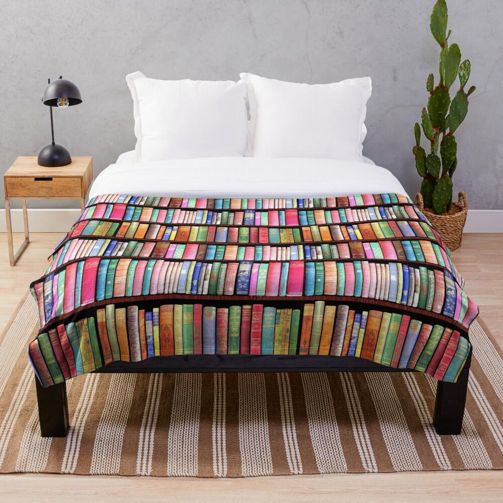 Bookworm Antique books Throw Blanket