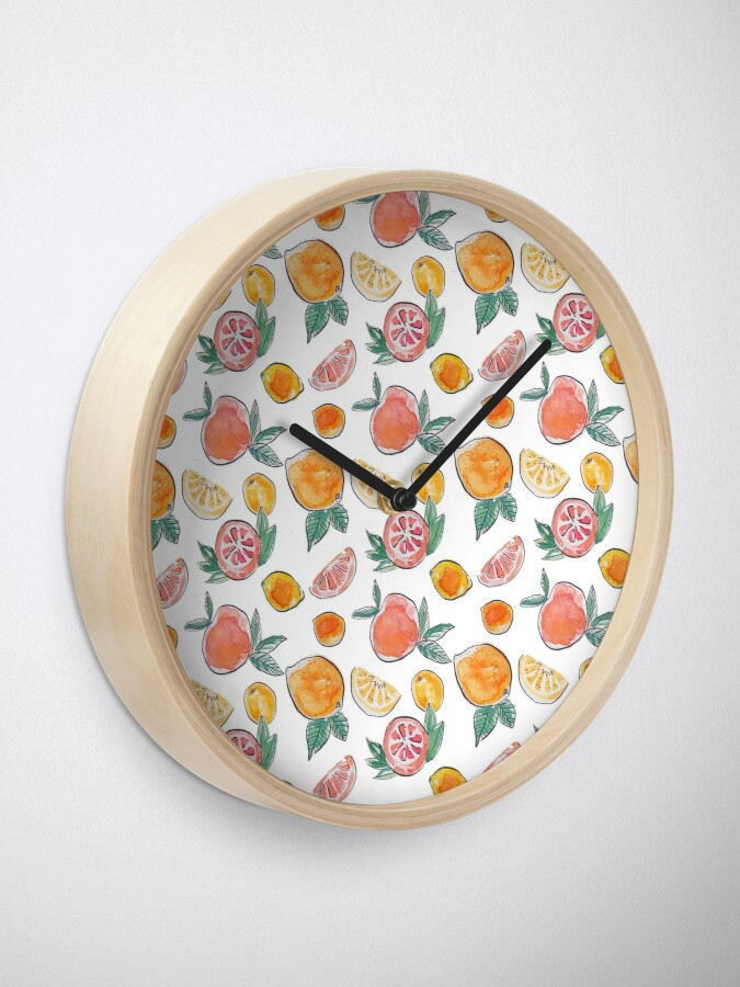 Alternate view of Citrus party in my garden_watercolour & ink  Clock