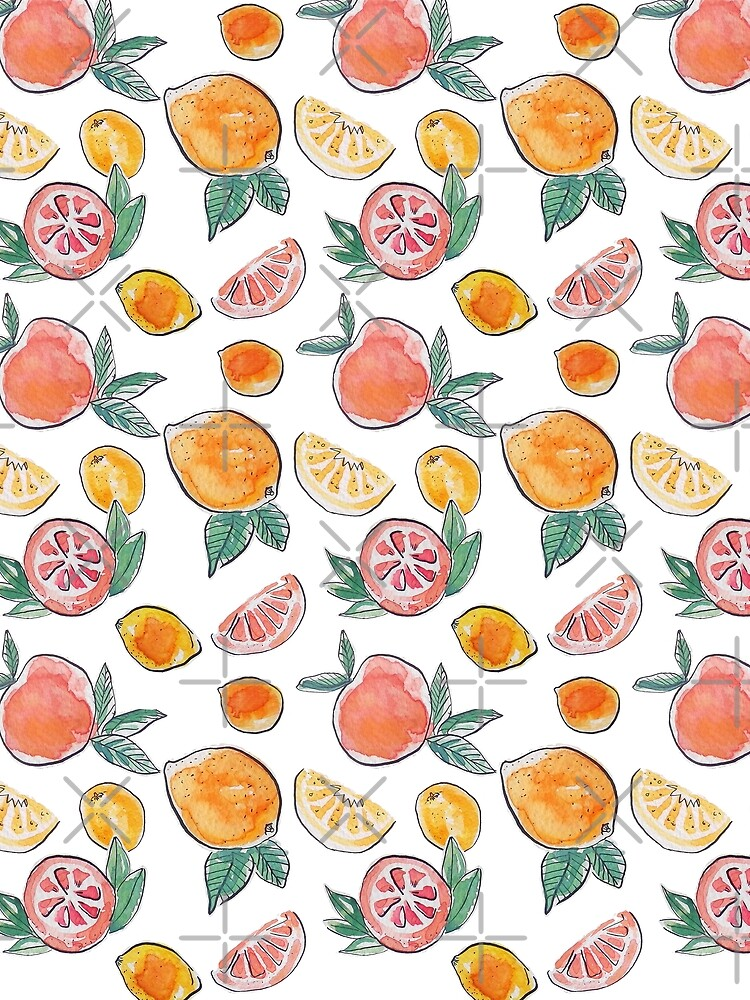 Citrus party in my garden_watercolour & ink  by ebozzastudio