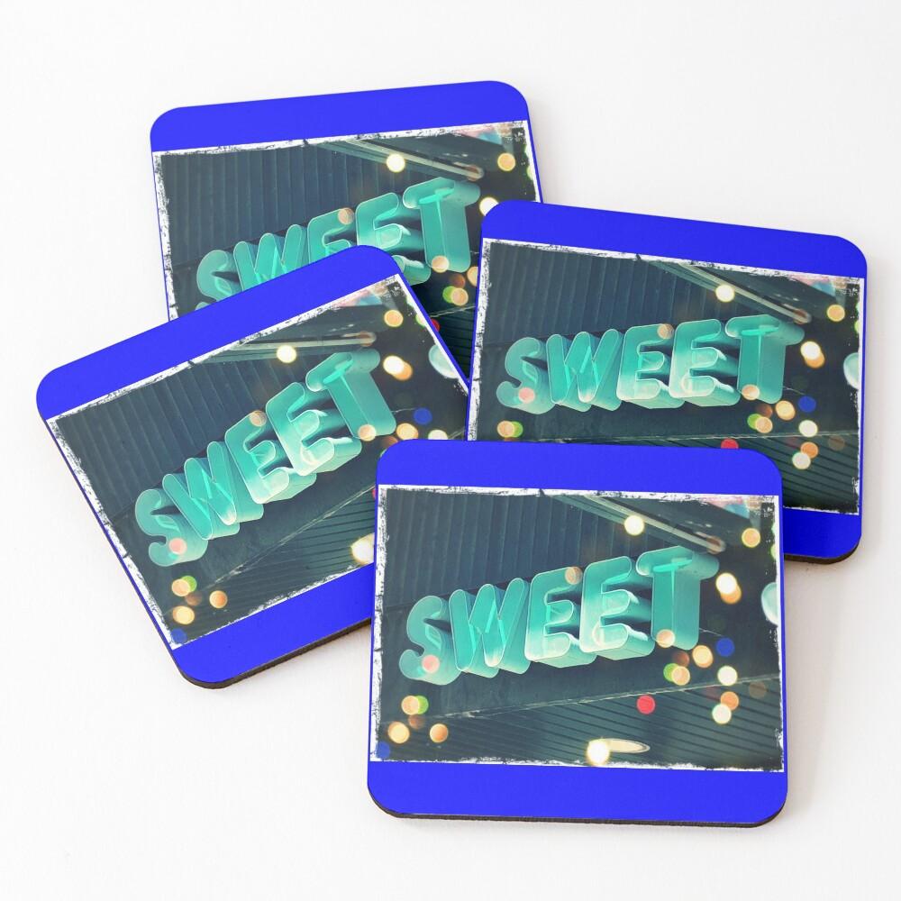 Sweet leggings, Sweet greeting card, Sweet pin, Sweet mask, Sweet socks  Coasters (Set of 4)