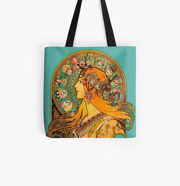 HD Zodiac, (1896) - Alphonse Mucha All Over Print Tote Bag