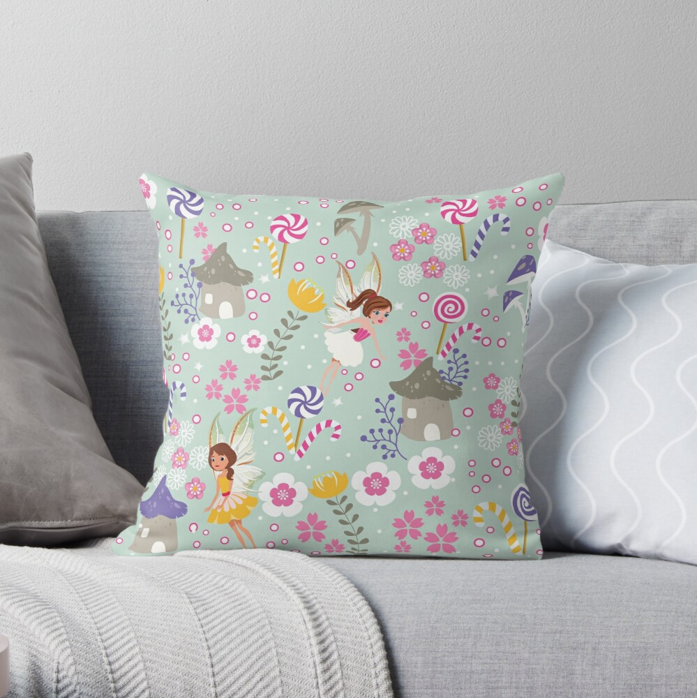 Green Fairy Helpers In Tommy Tinker's Village™ Throw Pillow