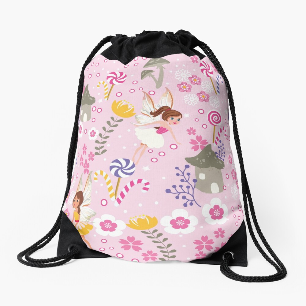 The Pink Fairy Helpers In Tommy Tinker's Village™ Drawstring Bag