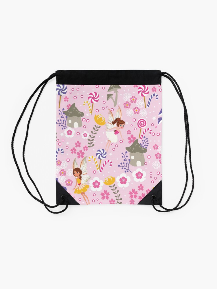 Alternate view of The Pink Fairy Helpers In Tommy Tinker's Village™ Drawstring Bag