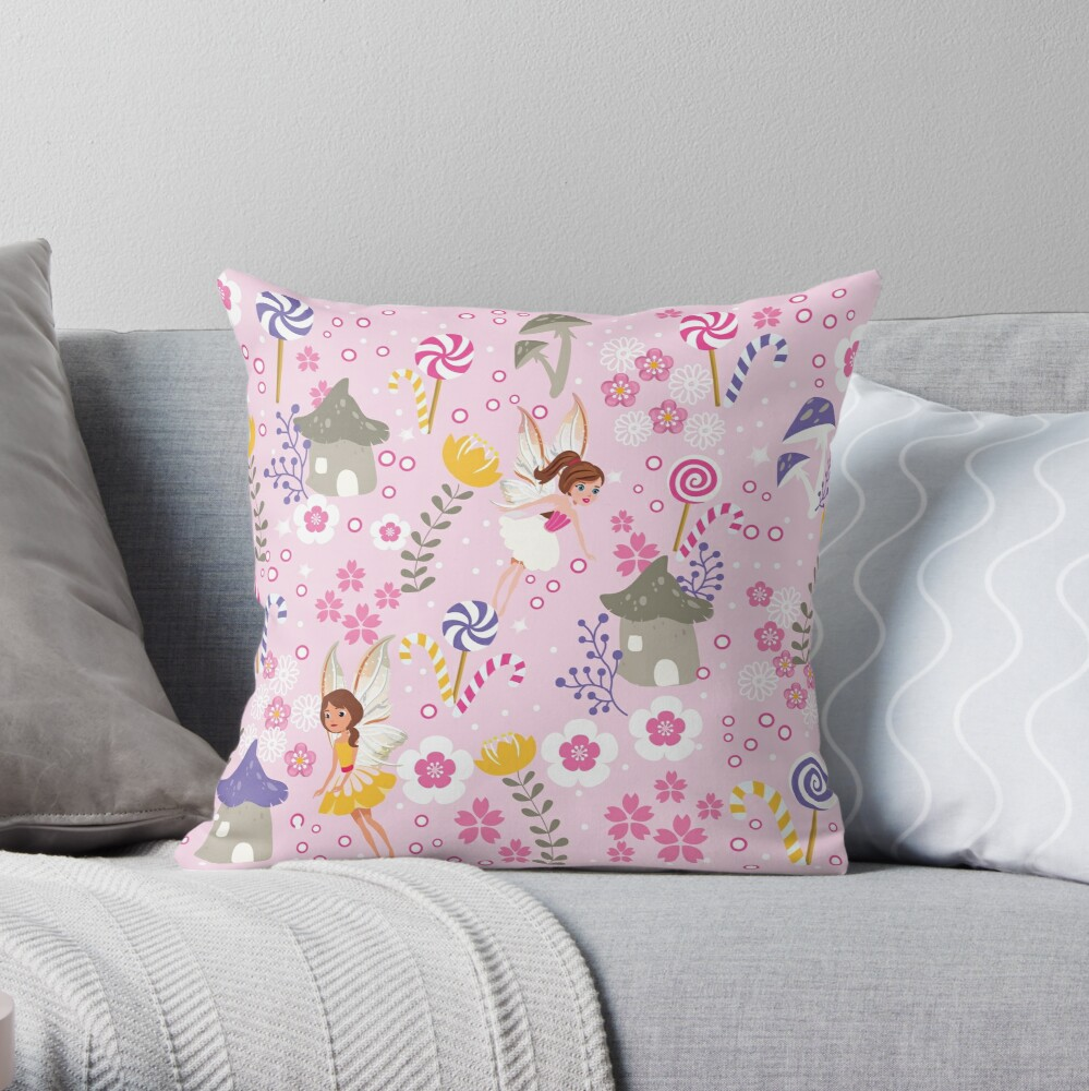 The Pink Fairy Helpers In Tommy Tinker's Village™ Throw Pillow