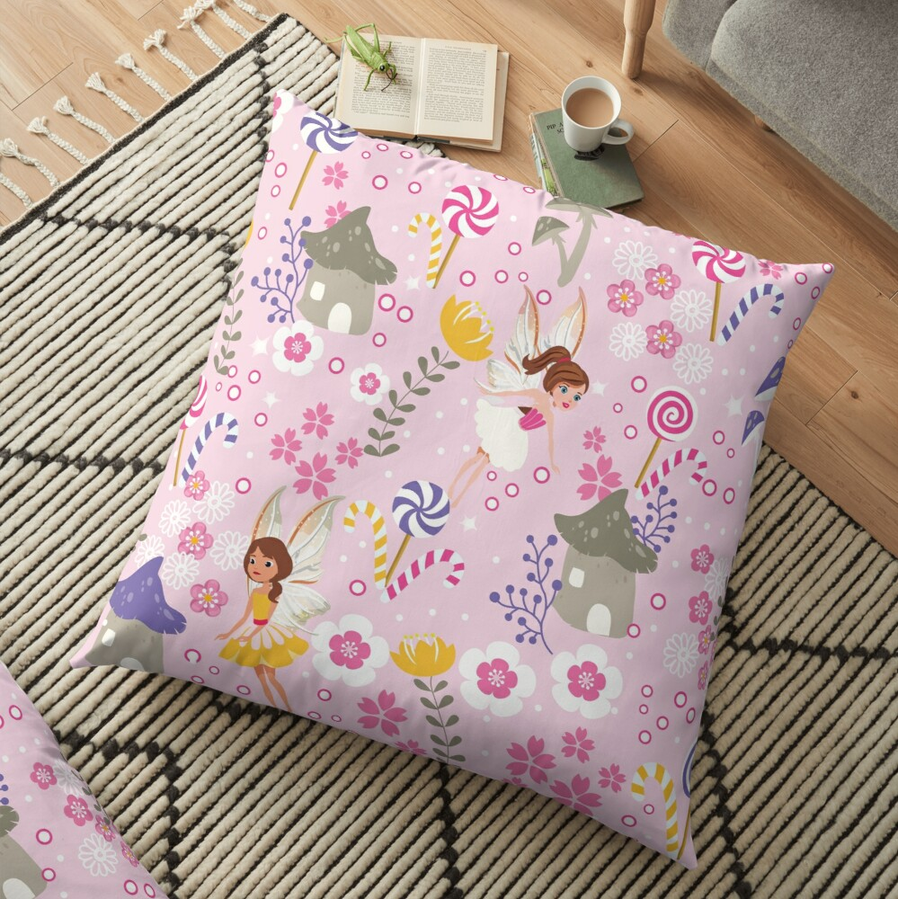 The Pink Fairy Helpers In Tommy Tinker's Village™ Floor Pillow