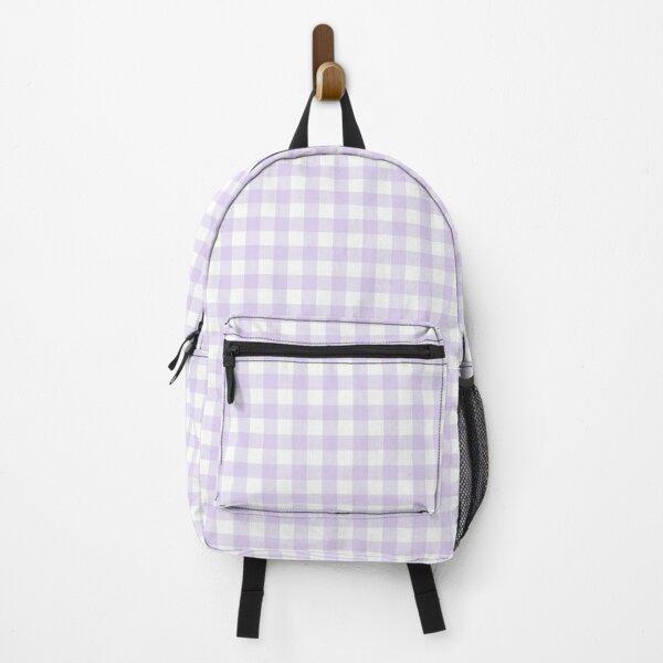 Pastel Purple Gingham Pattern (Large Wide Print) Backpack