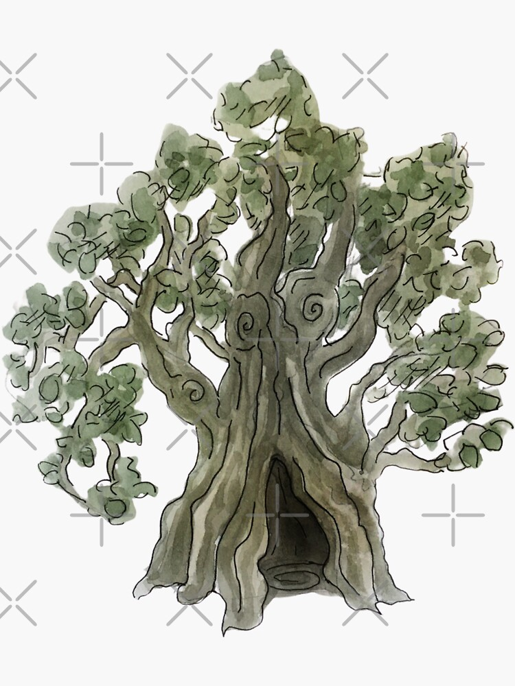 Spooky Yew Tree in Watercolor by WitchofWhimsy