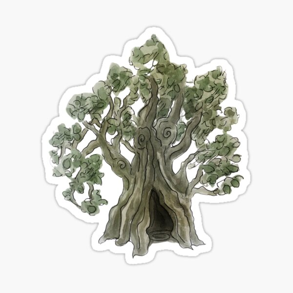 Spooky Yew Tree in Watercolor Sticker