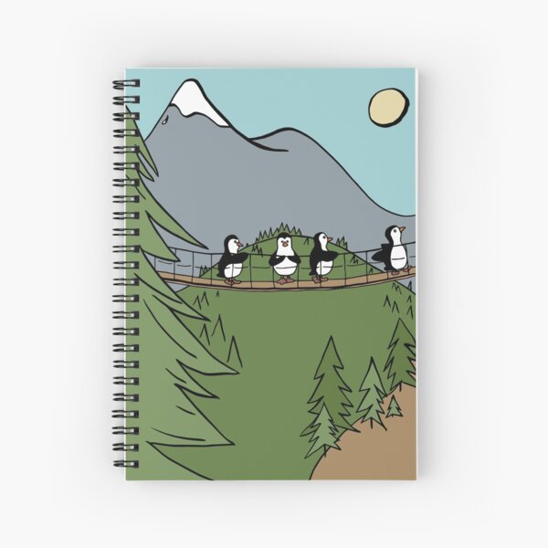 Penguins Crossing a Suspension Bridge in the Woods Spiral Notebook