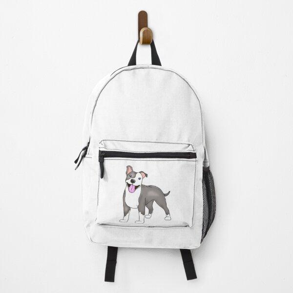 Happy Grey Pitbull Backpack