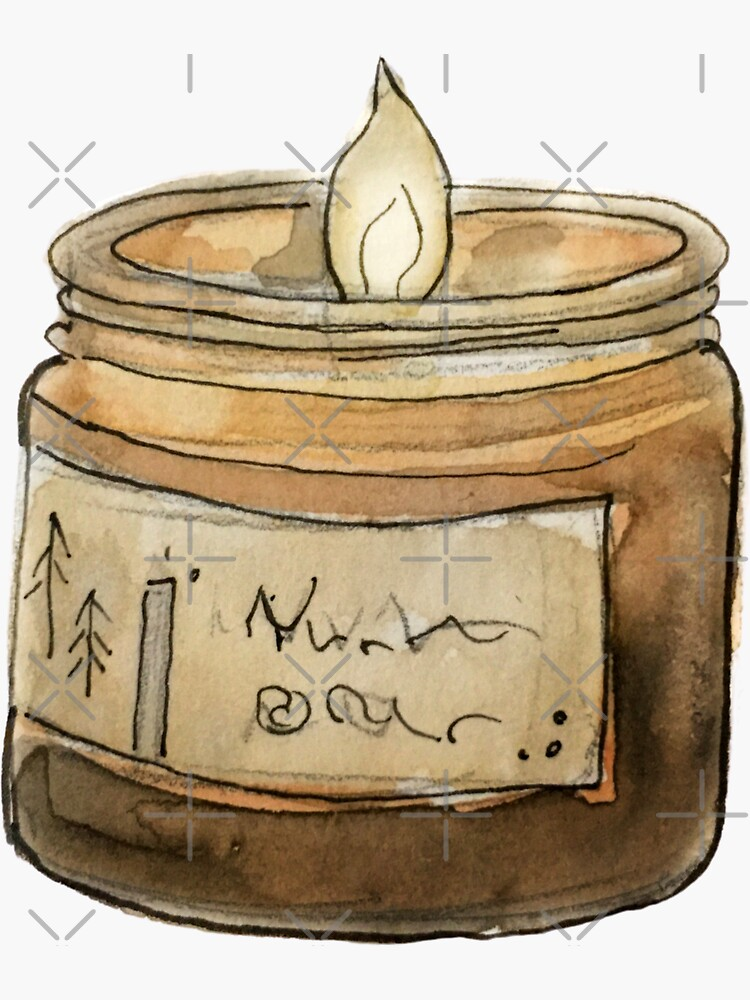 Witchy Woodsy Candle with Pine Tree Insignia in Watercolor  by WitchofWhimsy