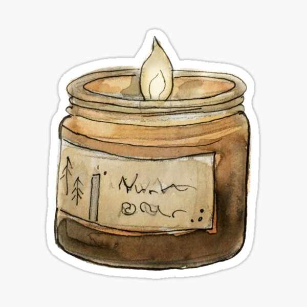 Witchy Woodsy Candle with Pine Tree Insignia in Watercolor  Sticker
