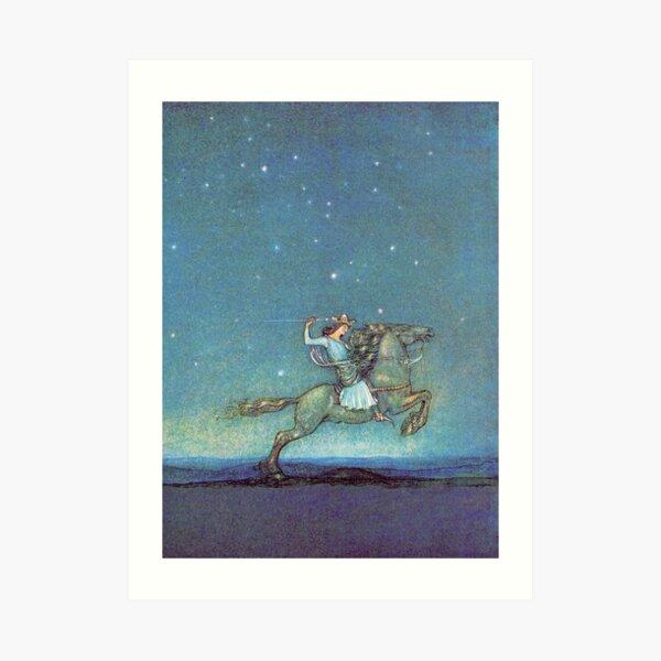 Riding in the Moonlight - John Bauer Art Print